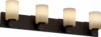 Justice Design FSN892410 Modular Fusion Cylinder Shade Contempotary Four-Light Bathroom Lighting