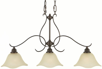 Feiss F2048-3-GBZ Morningside 3-light 36 inch Kitchen Island Fixture in Grecian Bronze