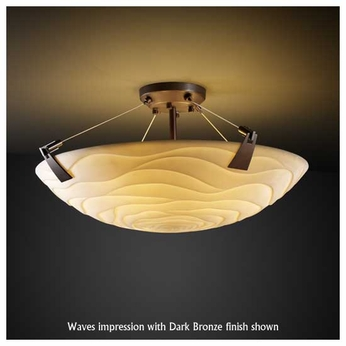 Justice Design PNA963235 Tapered Clip 24 Round Semi-Flush Ceiling Light with Faux Porcelain Glass