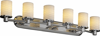 Justice Design POR851610 Rondo Limoges Cylinder Shade Contemporary Six-Light Bathroom Lighting