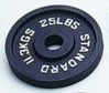 Standard Black Olympic Plate - 25 lbs