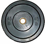 Olympic Bumper Plate - Solid Rubber - 45 lbs - Black