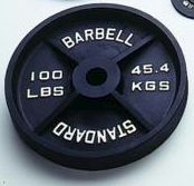 Standard Black Olympic Plate - 100 lbs