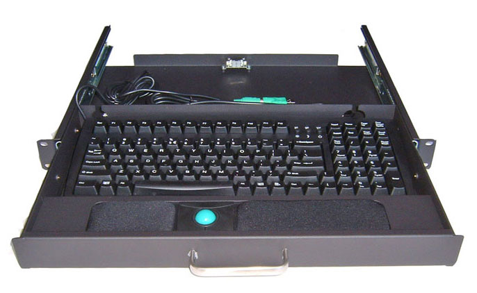 RM-B100 1U Keyboard Drawer with 104 Key Keyboard and Track Ball Mouse