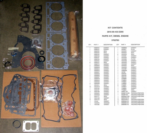 Engine Gasket and Seal Kit For Multifuel Engines In The M35A2 / M54A2 Series, 5702783