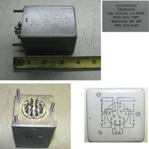 Relay 4PDT, 26.5 Volt Coil, Mil Spec., Price Electric Corp 2112-43HS