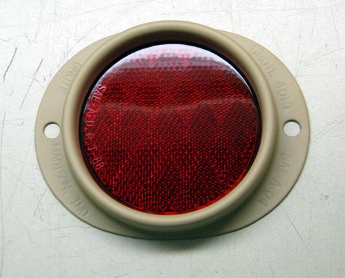 Red Reflector, 3 Inch Lens, Desert Tan Metal Frame, MS35387-1-T