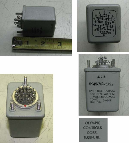 Relay 6PDT, 6-8 Volt Coil, 3 Amp Contacts, Mil Spec.