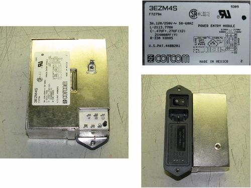 IEC Power Entrance with RFI Filter, Corcom/Tyco 3EZM4S