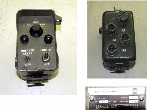 Cipher Control Box, Collins Type 916E-1