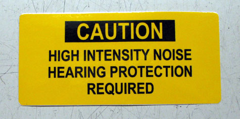 """""""Hearing Protection Required"""" Warning Label, 11643398"""