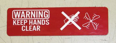 """Keep Hands Clear / Fan"" Warning Label, 12339064"