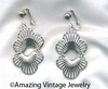 LOTUS BLOSSOM Earrings Silvertone