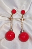 Red Dangle Earrings with Clear Rhinestones
