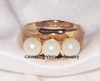 Goldtone Ring w/3 Faux Pearls
