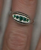 Silvertone Ring w/5 green RS