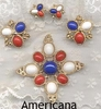 AMERICANA Set  - 1971 - Pin & Clip Earrings available