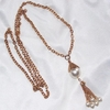 Goldtone Necklace w/Faux Pearls & Tassel