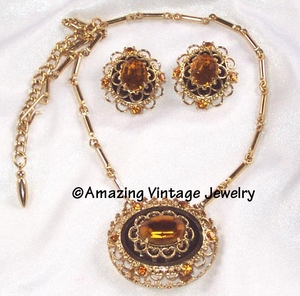 Coro Amber RS Necklace/Earrings