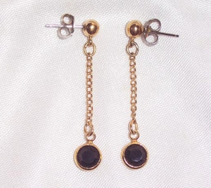 SPARKLE BY THE YARD Earrings - Jet/Goldtone