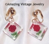 ROSE SET FSD Gift - lucite/roses earrings