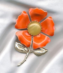 EMMONS orange flower pin