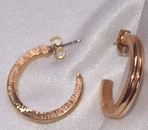 Goldtone Ribbed Hoop Earrings - Pierced
