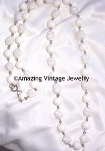 White Molded Beads Necklace