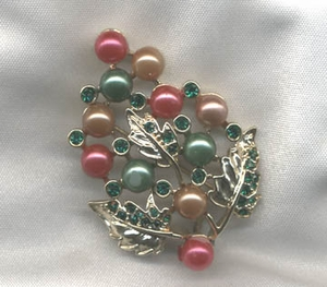 Goldtone Pin w/Pink & Green faux Pearls