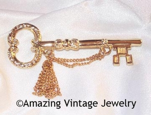 Awards Pin - Goldtone Key/Chain/Tassel