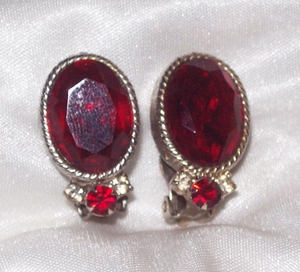 Faceted Red Rhinestone/Silvertone Earrings