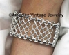 Wide Silvertone Lattice-Work Bracelet - Sarah Canada