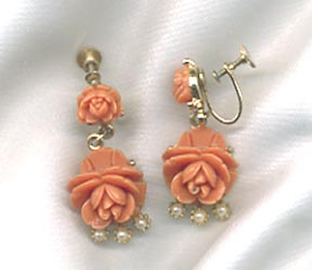 Orange Molded Roses Earrings