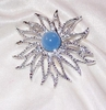 Silvertone/Blue Cabochon Pin - Great Britain