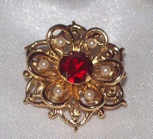 Ruby Tipped Snowflake Pin