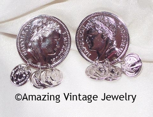 ROMAN COINS Earrings - Silvertone