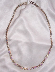 Pink Irridescent Glass Insets Necklace
