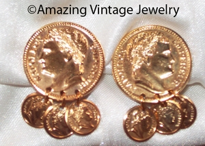 ROMAN COINS Earrings - Goldtone