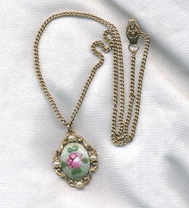 Guilloche Rose Necklace