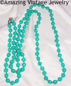 SARAH Bermuda Blue textured beads Necklace