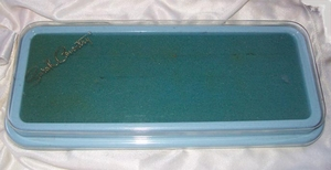 Turquoise Plastic Sarah Coventry Ring Box w/Clear Cover