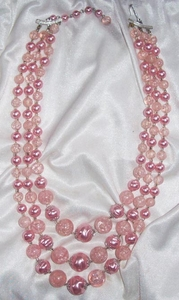 Pink Triple Strand Necklace