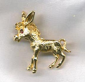 Goldtone Donkey Pin w/Red RS Eye