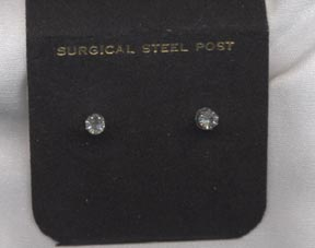 Silvertone Pierced Rhinestone Stud Earrings
