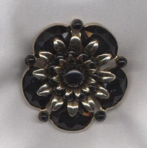 Old Goldtone Flower Pin w/Black Insets