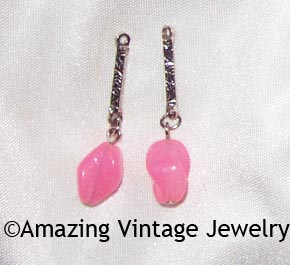 HOLIDAY Earring Drops - Pink & Silvertone