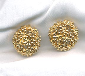 Goldtone Dome of Flowers Earrings