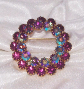 Purple/AB Wreath Pin