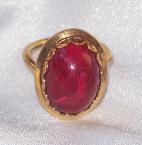 Marbled Red Inset Ring