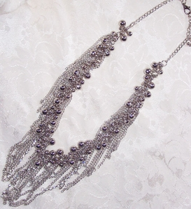 Silvertone Necklace w/Beads & Fringe